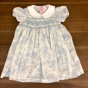 EMILY LACEY Blue floral smocked dress 18M